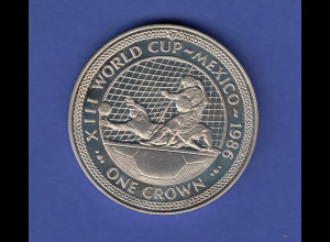 "1986 XIII World Cup-Mexico One Crown, Isle of man ""Torwart im Flug"" PP"