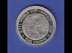 "1986 XIII World Cup-Mexico One Crown, Isle of man ""Weltkugel mit WM-Gewinnern"""