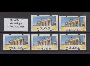 Deutschland ATM Mi-Nr. 6 Berlin Satz 5 Werte 5-200 ** mit Zählnummer