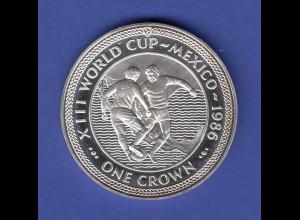"""Isle of Man One Crown - Fußball WM 1986 in Mexico """"Spieler vor Landkarte"""" silber"""