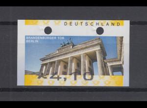 Deutschland ATM Mi-Nr. 6 Berlin Wert 4,10 verschnitten, oben volle Löcher.