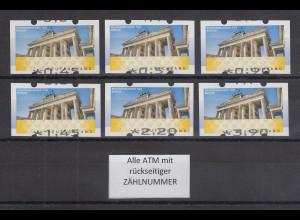 Deutschland ATM Mi-Nr. 6 Berlin Tastensatz TS1 6 Werte 45-390 ** alle mit ZN