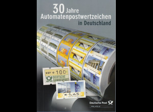 30 Jahre ATM Deutschland offizielles Faltblatt der Post, A4-Format mit div. ATM