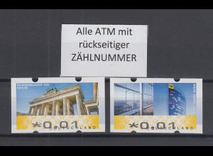 ATM Deutschland Mi.-Nr. 6-7 Berlin/Bonn je eine ATM 0,01 ** mit Zählnummer