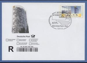 Einschreibe-Ganzsache mit ATM-Wertstempel 2,15 blanco mit ET-So.-O Bonn 24.10.08