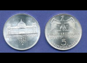 Bundesrepublik 5DM Silber-Gedenkmünze 1971, Reichsgründung 1871,Reichstag Berlin