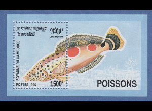 Kambodscha / Cambodge 1995 Mi.-Nr. Block 217 Orangefleck-Lippfisch **