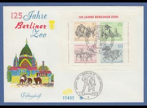 Berlin 1969 Berliner Zoo Blockausgabe Mi.-Nr. Block 2 auf FDC