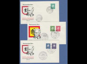 Berlin 1959 Dauerserie Theodor Heuss, Mi.-Nr. 182-186 kpl. auf 3 FDC
