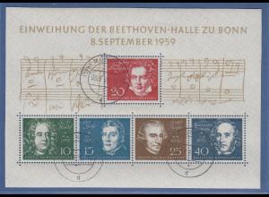 Bundesrepublik 1959 Beethovenblock mit ET-Tages-O München, Top-Qualität !