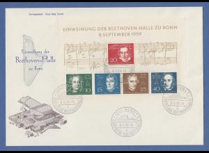 Bundesrepublik 1959 Beethovenblock auf großform. FDC mit ET-Sonderstempel Bonn