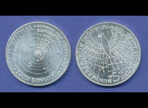 Bundesrepublik 5DM Silber-Gedenkmünze 1973, Nikolaus Kopernikus