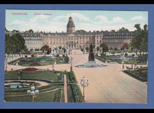 AK Karlsruhe Schloss gelaufen 1910 nach Pasing