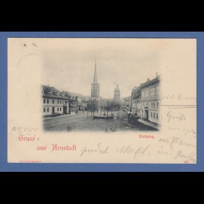 AK Gruß aus Arnstadt Riedplatz gelaufen 1898 nach Bamberg