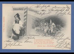 AK Gruß aus Lauterbach Stadtansicht gelaufen 1901 nach München