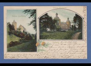 AK Kettwig Schloss Landsberg & Schloss Hugenpoet gelaufen 1903 nach München