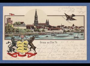 AK Gruß aus Ulm Stadtansicht und Wappen gelaufen 1902 nach München