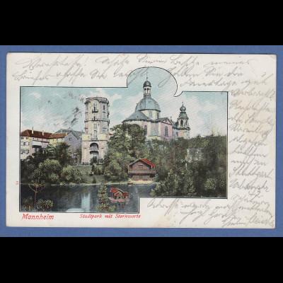 AK Mannheim Stadtpark mit Sternwarte gelaufen 1901 nach München