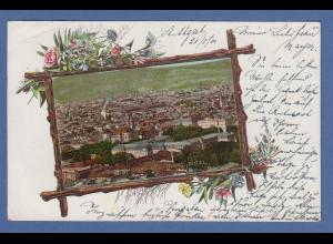 AK Württemberg: Stuttgart Stadtansicht gelaufen 1901 nach München