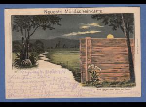 AK Neuste Mondscheinkarte gelaufen 1898 von Regensburg nach Bamberg
