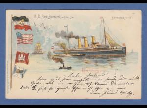AK Hamburg Hafen S.D. Fürst Bismarck auf der Elbe gelaufen 1901 nach München