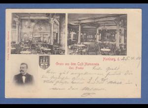 AK Hamburg Gruß aus dem Cafe Hammonia gelaufen 1901 nach München