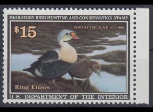 USA 1992 Gebührenmarke migratory bird hunting and conversation stamp 15$ **