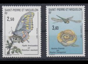 Saint Pierre et Miquelon Insekten Mi.-Nr. 608, 635 2 Werte **