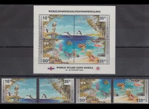 Niederländische Antillen 1994 Tiere am Meer Satz Mi.-Nr. 812-15 und Block 41 **