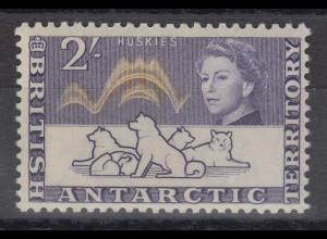 Britische Antarktis 1963 Freimarke 2 Shilling Polarhunde Mi.-Nr. 11 **