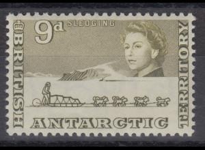 Britische Antarktis 1963 Freimarke 9 Pence Huskie-Schlitten Mi.-Nr. 9 **