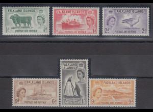Falkland-Inseln 1955 Freimarken Mi.-Nr. 117-122 Satz 6 Werte kpl. **