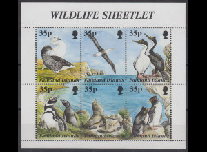 Falkland-Inseln 1995 Tiere am Meer Mi.-Nr. 653-658 6 Werte im Kleinbogen **