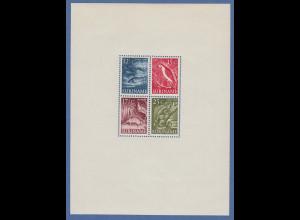Suriname 1955 Tiere Mi.-Nr. Block 1 ** aber leichte Gummitönung durch Fotoecken