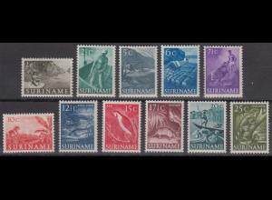 Suriname 1953 Freimarken u.a. Tiere Mi.-Nr. 332-42 Satz 11 Werte **