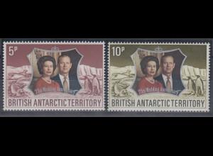 Britische Antarktis 1972 Silver Wedding, Tiere. Mi.-Nr. 43-44 Satz 2 Werte **