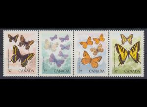 Kanada 1987 Schmetterlinge Mi.-Nr. 622-24 Satz 4 Werte Streifen **