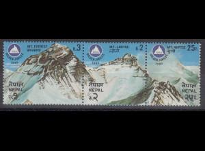 Nepal 1982 Himalaya Berge Everest, Lhotse, Nuptse Mi.-Nr. 420-22 Streifen **