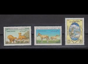 Afghanistan 1985 wilde Tiere Mi.-Nr. 1283-85 Satz 3 Werte **