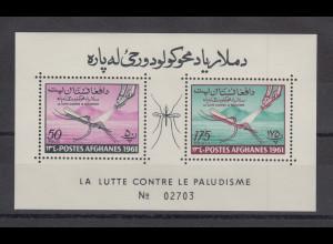 Afghanistan 1961 Anopheles Mücke Blockausgabe Mi.-Nr. Block 15A **