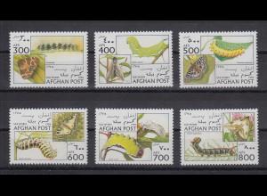 Afghanistan 1996 Raupen und Schmetterlinge Mi.-Nr. 1688-1693 Satz 6 Werte **