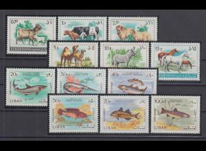 Libanon 1968 Landtiere und Fische Mi.-Nr. 1021-1032 Satz 12 Werte **