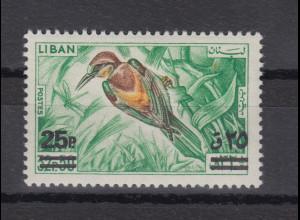 Libanon 1972 Vögel Bienenfresser mit Aufdruck Mi.-Nr. 1150 **