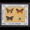 Jordanien 1992 Schmetterlinge Blockausgabe Mi.-Nr. Block 67 **