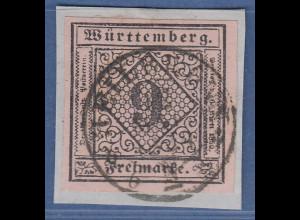 Württemberg 9 Kreuzer rosa Mi.-Nr. 4 sauber gestempelt