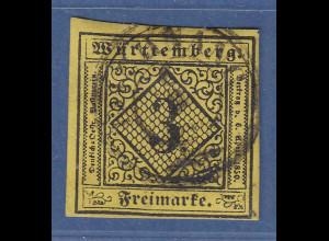 Württemberg 3 Kreuzer gelb Mi.-Nr. 2 gestempelt BACKNANG