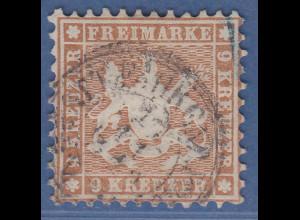 Württemberg 1863 9 Kreuzer gelbbraun Mi.-Nr. 28a gestempelt