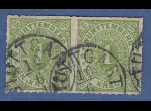 Württemberg 1869 1 Kreuzer grün Mi.-Nr. 36a waagerechtes Paar gestempelt