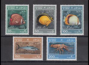 Oman 1985 Fische, Meerestiere Mi.-Nr. 285-289 Satz 5 Werte **