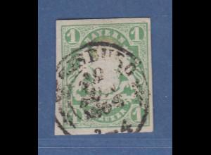Bayern Wappen 1 Kreuzer grün Mi.-Nr.14a mit Ortsstempel Augsburg